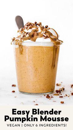 Pumpkin Mousse, Vegan Pumpkin, Pumpkin Spice, Vegan Dessert Recipes, Vegan Sweets, Healthy Desserts, Healthy Pumpkin Recipes, Dairy Free Pumpkin Recipes, Fall Recipes