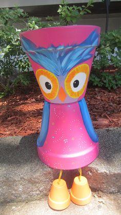 12 Whimsical Owl Planter Pot Person People by GARDENFRIENDSNJ, $30.00