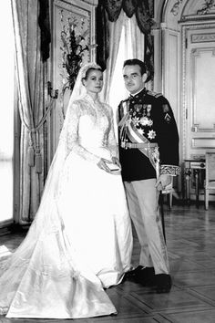 The dress that Grace Kelly wore for her April 19 1956 wedding to Prince Rainier was designed by MGM costume designer Helen Rose and was made from 25 yards of silk taffeta, antique rose-point lace and pearls by three dozen seamstresses, who worked on it for six weeks.