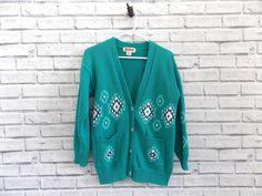 Vintage Green Sweater  Teal Lady Antigua by InfinityAmpersand