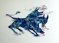 Between mythology and fantasy, paper collage by Morgana Wallace - ego-alterego.com
