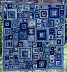I ❤ quilting . . . Old Jeweled Squares from book Glorious Patchwork ~By Kaffe Fassett. Doing it in blues, rather than the reds of the original quilt in the book, was my husband's idea.I went a little more crazy,  tried to get blues with sparks of other colours in them — they often looked a little weird in individual squares, but once they all came together I think the splashes of other colours draw your eyes around the quilt. 4 yrs, 4 mo  of finger-pricking work. Finally finished! By Casie…