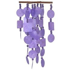 Wind Chimes - Capiz Chime - Purple with Wood Beads