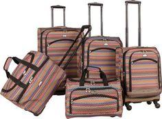 American Flyer Gold Coast 5-Piece Luggage Set Pink - via eBags.com! $249