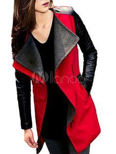 Magnétique manteau mode en tweed PU revers cranté avec poches latérales - Milanoo.com