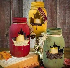 Cute craft idea for fall/winter anything really. Just put A sticker on then paint over with acrylic glass paint several coats, let dry. Then remove sticker. Fill with beans, nuts, etc & a candle. Boom, done!