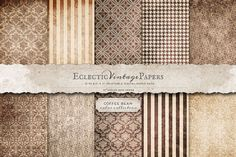 "This 10 piece pack of papers are printable at 8.5"" x 11"" at 300 ppi. This lovely Coffee Bean color collection features a variety of stripe, houndstooth, and damask textured patterns in neutrals and br"
