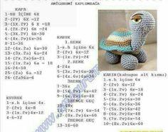 Amigurumi örgü oyuncak tosbağa yapımı anlatımlı
