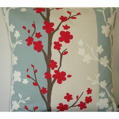 "24x24 Pillow Cover 24"" Raspberry Red Duck Egg Blue Cream and White Decorative Pillow Cushion Slip Sham Case Pillowcase Blomma Fabric"