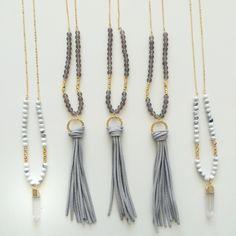 Leather Tassel necklace - Quartz point necklace