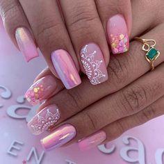 Pink Nail Art, Cute Acrylic Nails, Pink Nails, Gel Nails, Dream Nails, Love Nails, Judy Nails, Wedding Nail Polish, Nagellack Design