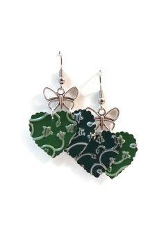 Boucles d'Oreilles Papillons et Coeurs Légères Vertes : Boucles d'oreille par cap-and-pap