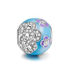 NinaQueen® *Camellia* 925 Sterling Silver Blue and Purple Enamel Zirconia Charms, Fits Pandora Bracelet, Elegant Flowers Charms -- You can get more details by clicking on the affiliate link Amazon.com.
