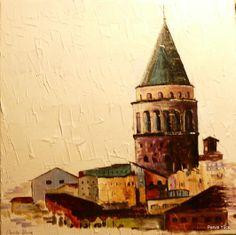 """ Galata Tower "" acrylic paint on canvas"