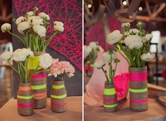 rope vases. bright and chic.
