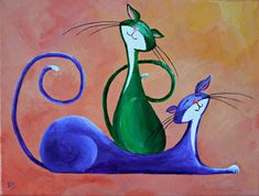 "Original Cat Painting for Sale : Fantasy Cats ""Two Merry Cats"" Illustration Art, Illustrations, Cat Colors, Cat Paws, Fantasy, Cat Drawing, Whimsical Art, Paintings For Sale, Oeuvre D'art"