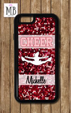 Cheer iPhone 6s Case, Cheerleading Name iPhone 6 plus case, Glitter Cheer iPhone 6 Case, by MacyBlueDesigns on Etsy
