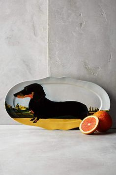Doxie!! So Cute!! Sally Muir Dog-a-Day Platter #anthropologie #anthrofave #anthrohome #dachshund #doxie #platter #ad