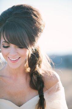 Bouffant and side braid ~ Gorgeous! Woodsy Colorado Wedding