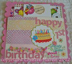 Happy 1st Birthday baby girl mini album page