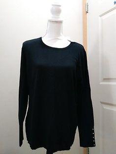 37b203b3a10d2 Womens JM Collection Core Crewneck long sleeve sz Large black