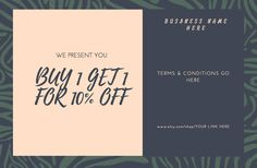 Custom Gift Certificate/Greeting Cards/Coupons Tags- Templates - Social Media Promo's-100% personalized for you-Digital files JPEG,PDF by SootheYourSoulDesign on Etsy