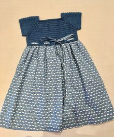 Knitting For Kids, Baby Knitting Patterns, Crochet For Kids, Knitted Baby Clothes, Crochet Clothes, Crochet Yoke, Crochet Baby, Baby Coat, Girl Dress Patterns