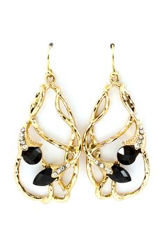 Jet Crystal Lily Earrings - Lightly Hammered Lilies weaved in a Teardrop.