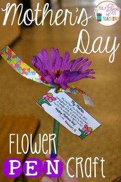 How to make a Mother's Day Flower Pen Craft (plus a FREEBIE)