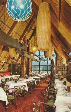 Interior shot of Trader Vic's tiki-style restaurant located at the Bayshore Inn (built 1960-61; addition 1969-70) in Vancouver, BC from 1961 to 1996. Photograph circa-1961.
