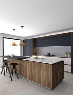 70 Stunning Minimalist Kitchen Design Trends - Page 22 of 71 Grey Kitchen Designs, Modern Kitchen Design, Interior Design Kitchen, Modern Interior Design, Kitchen Cabinet Colors, Kitchen Shelves, Kitchen Colors, Kitchen Ideas, Kitchen Layout