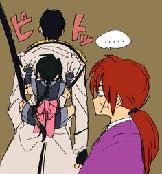 Rurouni Kenshin - Aoshi Shinomori x Misao Makimachi & Himura Kenshin Rurouni Kenshin, Anime Manga, Anime Art, Era Meiji, Takeru Sato, Movies And Series, Sweet Pic, Awesome Anime, Katana