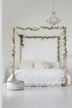 #canopy, #whimsical, #feminine, #chandelier, #pouf, #bedroom, #bedding, #neutral, #white    Read More: http://www.stylemepretty.com/living/2013/05/13/serene-bedrooms/