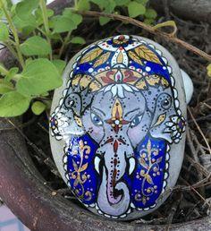 Hand painted stone, Ganesh hamsa stone, Indian art, bohemian art, stone art