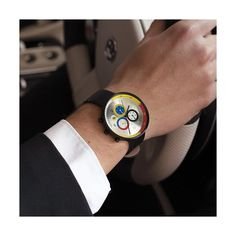 A modern British-designed men's chronograph watch. Brushed black case with multicoloured chronograph subdials in contemporary colour. Interchangeable multicoloured canvas and black leather straps. Latest Watches, Watches For Men, Black Watches, Leather Watches, Men's Watches, Maserati, Architecture 3d, Tattoos For Kids, Tattoo Kids