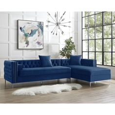 """115"""" Dante Velvet Button Tufted Right-facing Chaise Sectional Sofa   Overstock.com Shopping - The Best Deals on Sectional Sofas"""