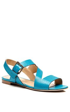 Turquoise Leather Sandals by Sergio Rossi - Moda Operandi