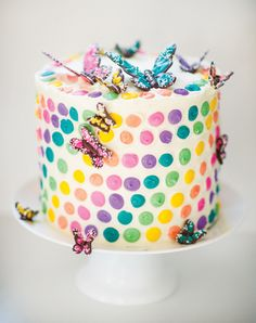 Playful Rainbow Butterfly Princess Cake for girl's birthday party