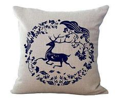 """Square 18"""" Linen Cushion Blue And White Porcelain Printed Home Decorative Cushions Almofada For Retail"""