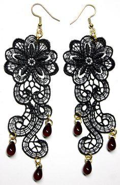 Floral Paisley Lace Earrings with Lace Appliqué & Glass Drops - JnE