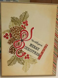 Papertreyink peaceful pine cones and tinsel and tags bow. We wish you a Merry Christmas