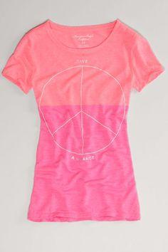 AEO Colorblock Peace T, Women's, Size: 2XL, Radiance