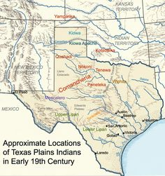 Aproximate areas of Indian groups in Texas during the nineteenth century.