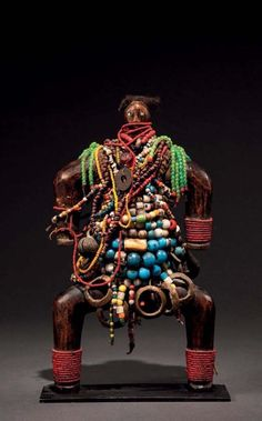 Africa | Doll from the Namji people of Cameroon | Wood core, covered in glass and metal beads, leather and hair