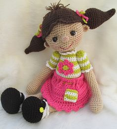 This big lovable dolly is definitely going to be a favorite. She's perfect for hugs since she's 20 inches tall from the top of her head to the bottom of her feet. Made with any medium worsted weight yarn, a size G (4mm) crochet hook and basic crochet stitches (i.e, sc, hdc, dc). You will need to know how to crochet in the round to finish your dolly. Other items needed include fiberfill, two small buttons or Velcro, a small piece of white felt, a tapestry needle and one pair of size 15mm…