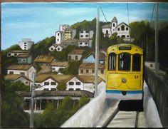 Pintura a óleo bondinho de Santa Teresa, óleo sobre tela, Daniel Aiello.
