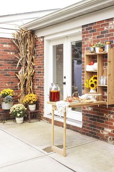 Outdoor Murphy Bar made from cedar - Fall Festival Patio Makeover Outside Living, Outdoor Living, Outdoor Decor, Murphy Bar, Outdoor Fireplace Patio, City Farmhouse, Welcome To My House, Patio Makeover, Style Challenge