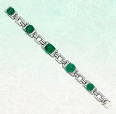 Emerald and diamond bracelet. The geometric links in this bracelet are millegrain-set with circular-cut diamonds and claw-set with cabochon emeralds. Silver Jewelry, Fine Jewelry, Holiday Jewelry, Latest Jewellery, Birthstone Jewelry, Emeralds, Jewelry Trends, Birthstones, Diamond Cuts