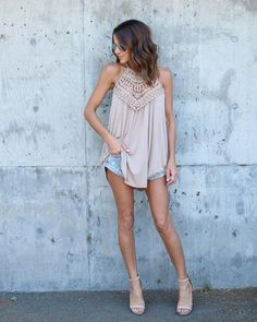 Imperial Crochet Tank - Taupe