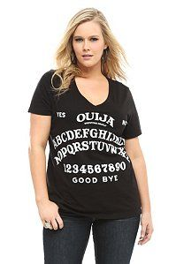 Ouija Black V-Neck Tee  Mystifying or ironic, this black ouija board-inspired tee is sure to raise spirits.